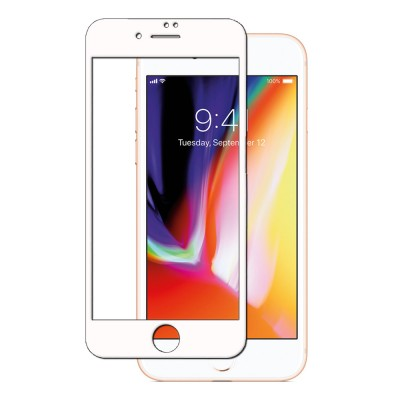 Película Premium HPrime Apple iPhone 7 Plus / iPhone 8 Plus [Branco] - ColorGlass 6D (Cobre a parte curva da tela)